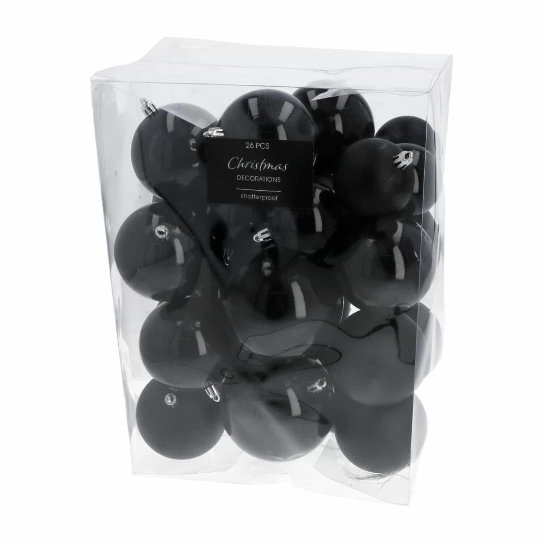 Kunststof Kerstballen set 26 ballen - binnen/buiten gebruik - Zwart