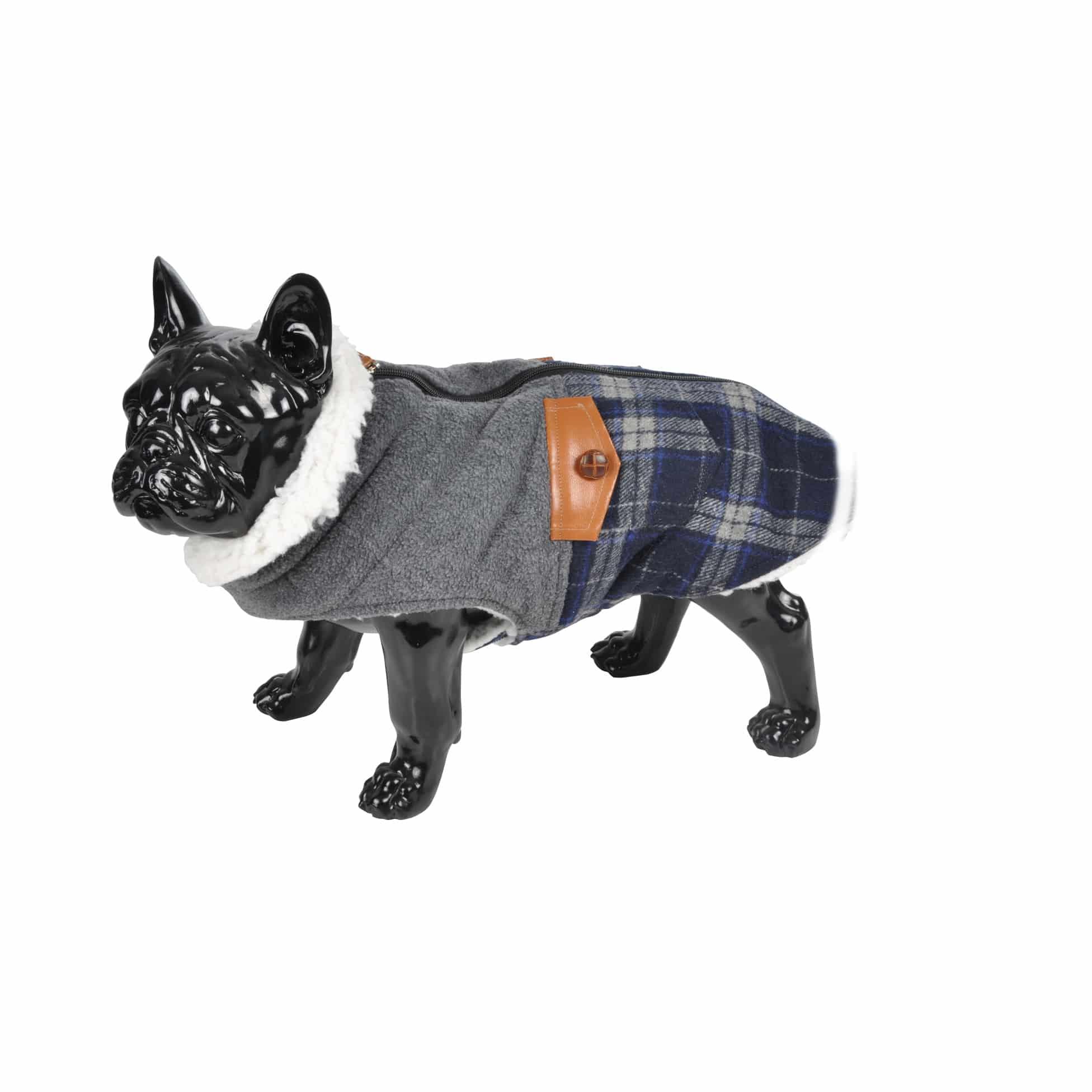 4Goodz warme geruiten winter hondenjas van fleece 35 cm - Blauw