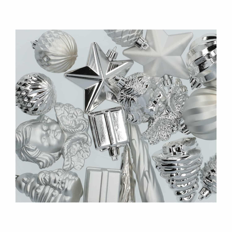 4goodz 16-delige decoratieve kerstballenset - binnen- en buiten Zilver