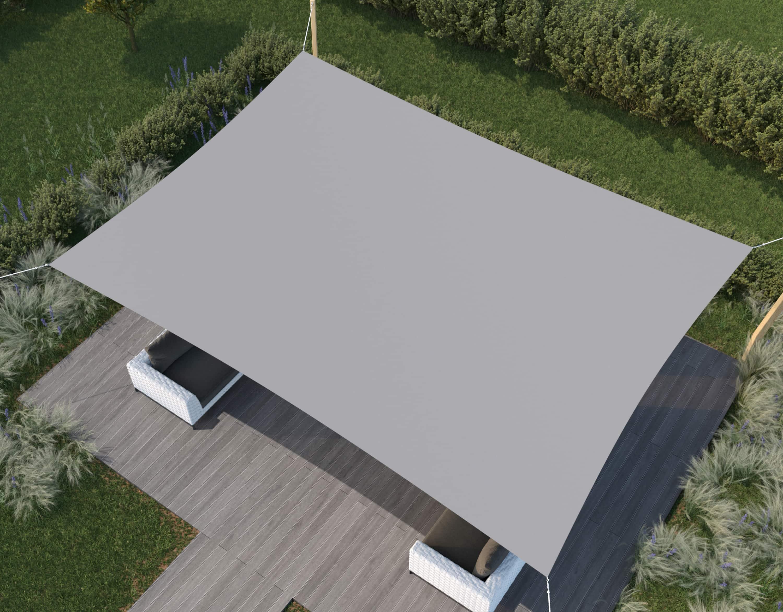 hanSe® Schaduwdoek Rechthoek Waterdoorlatend 5x7 m - zonnedoek - Grijs