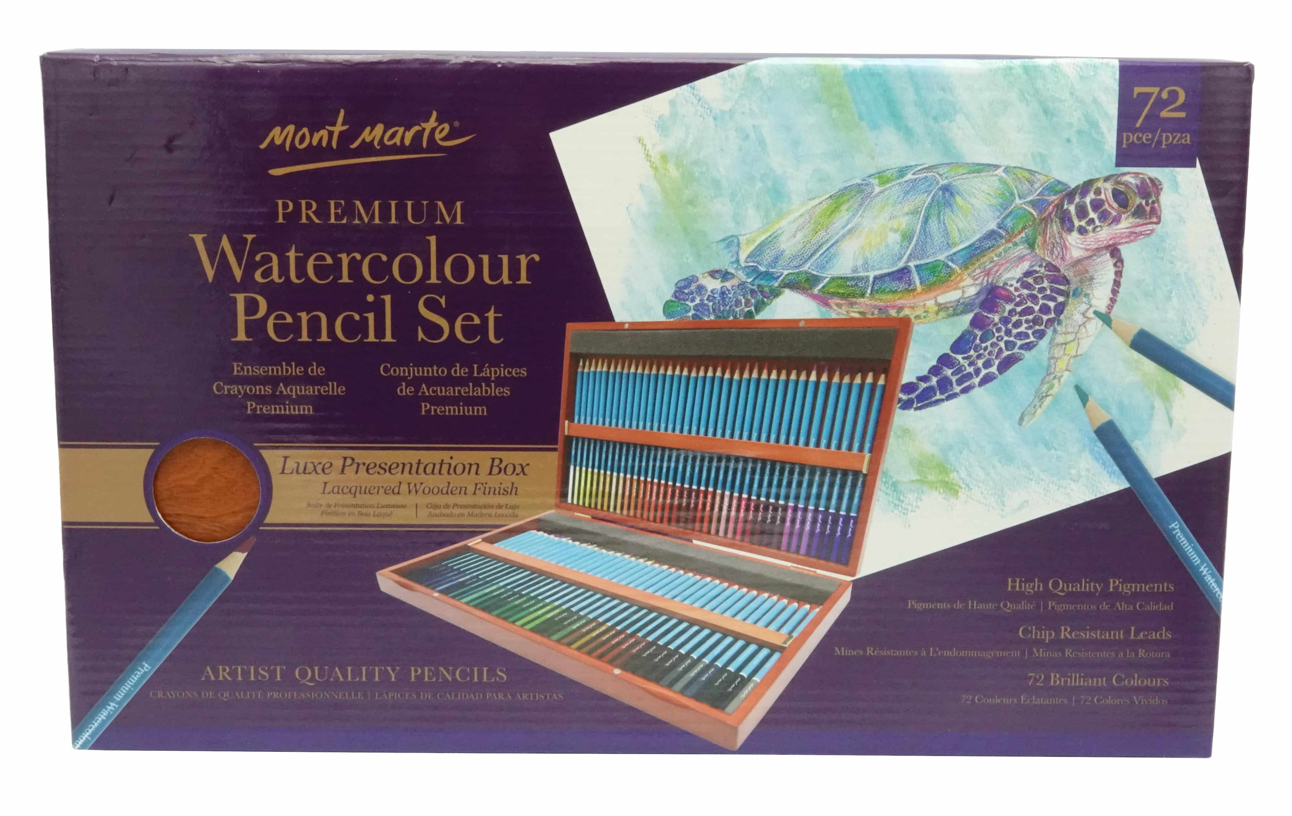 Mont Marte® premium aquarel potloden 72 stuks in houten kist