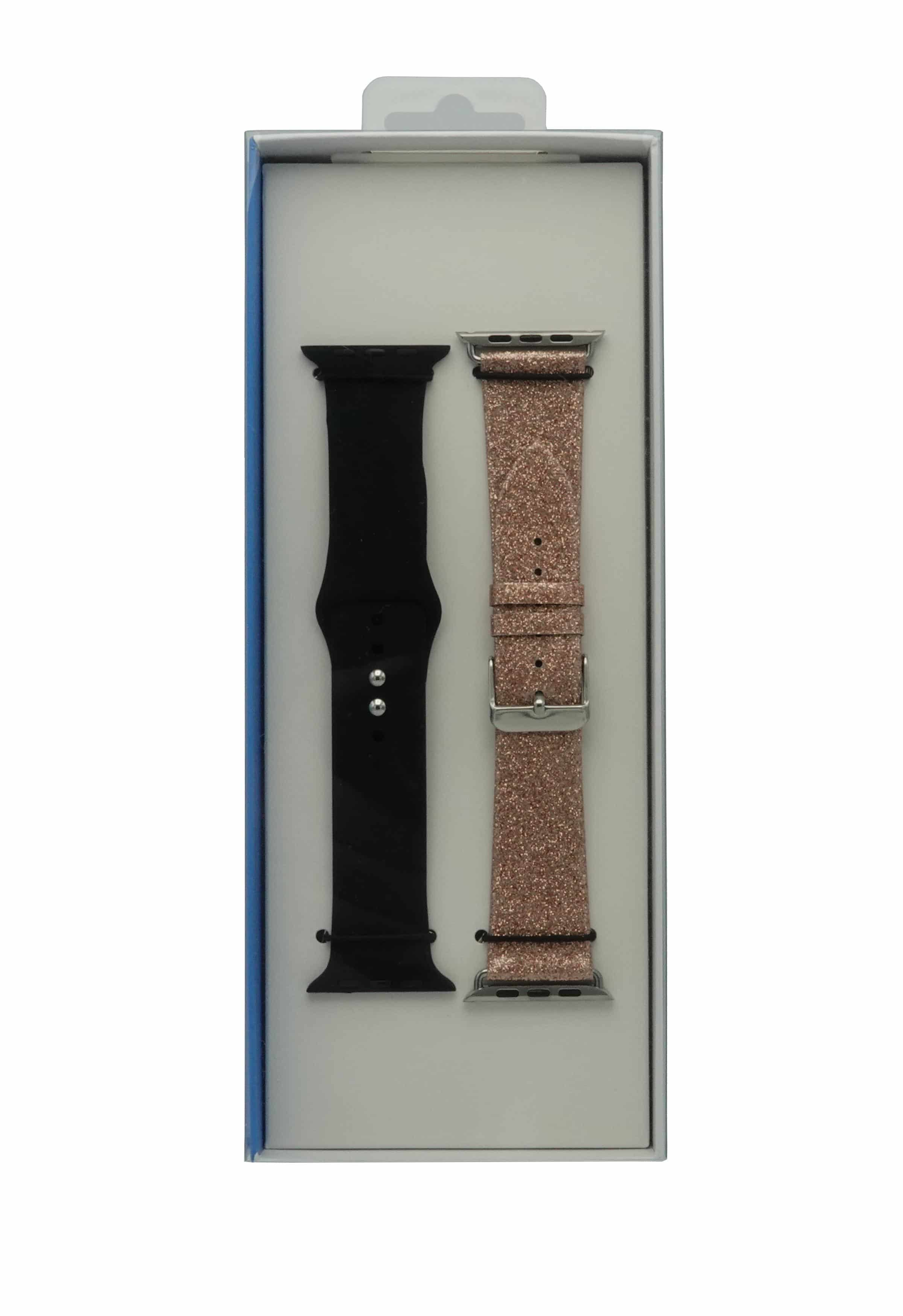 4mobilez Iwatch bandjes Lederen Glitter Roze en Zwart 42/44 mm