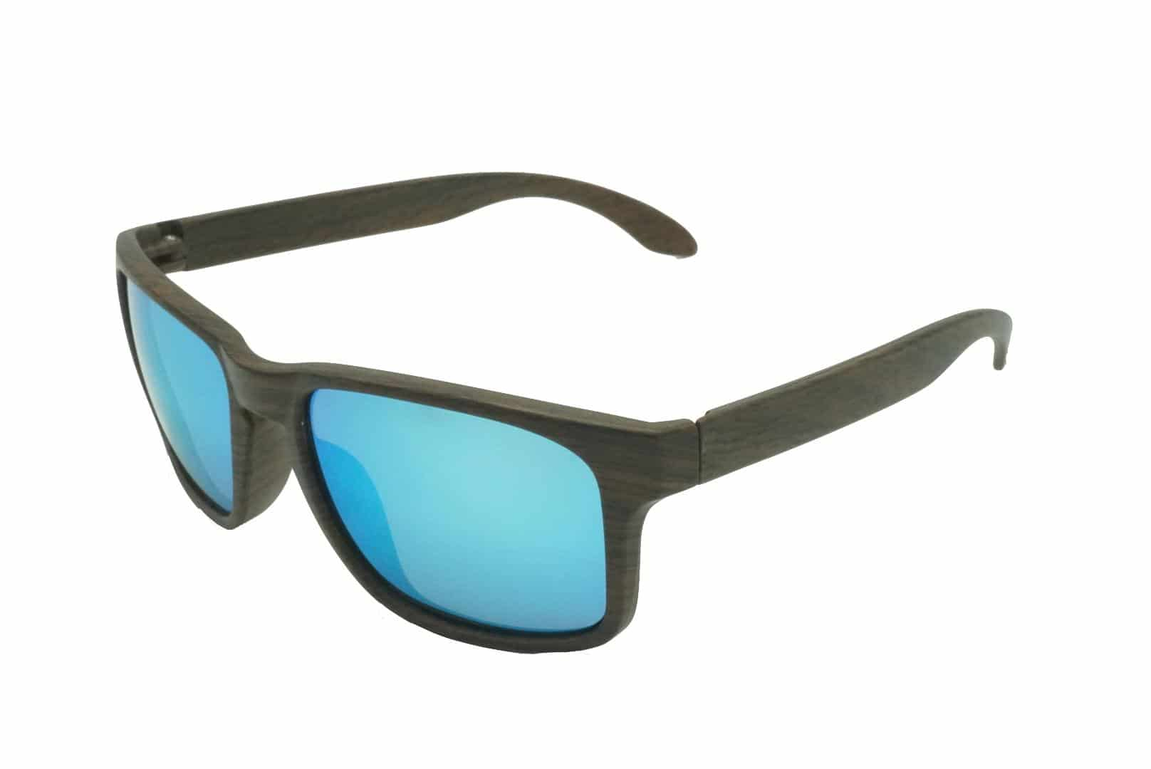 4Goodz Barcelona blue - houtlook zonnebril - blauw spiegelglas