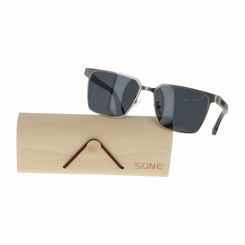 5one® Napoli Square Gun Metal Grey - Zonnebril met houten poten