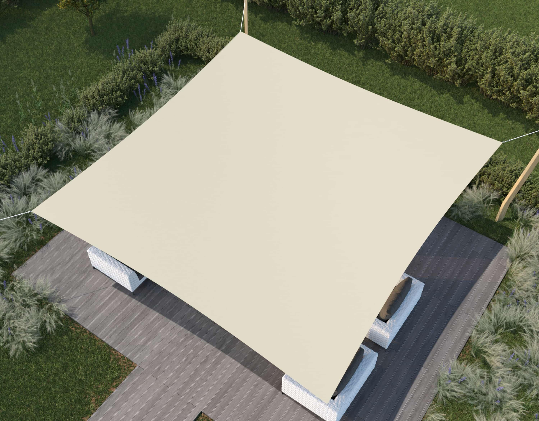 hanSe® Schaduwdoek Vierkant Waterdoorlatend 5x5m - zonnedoek - Zand