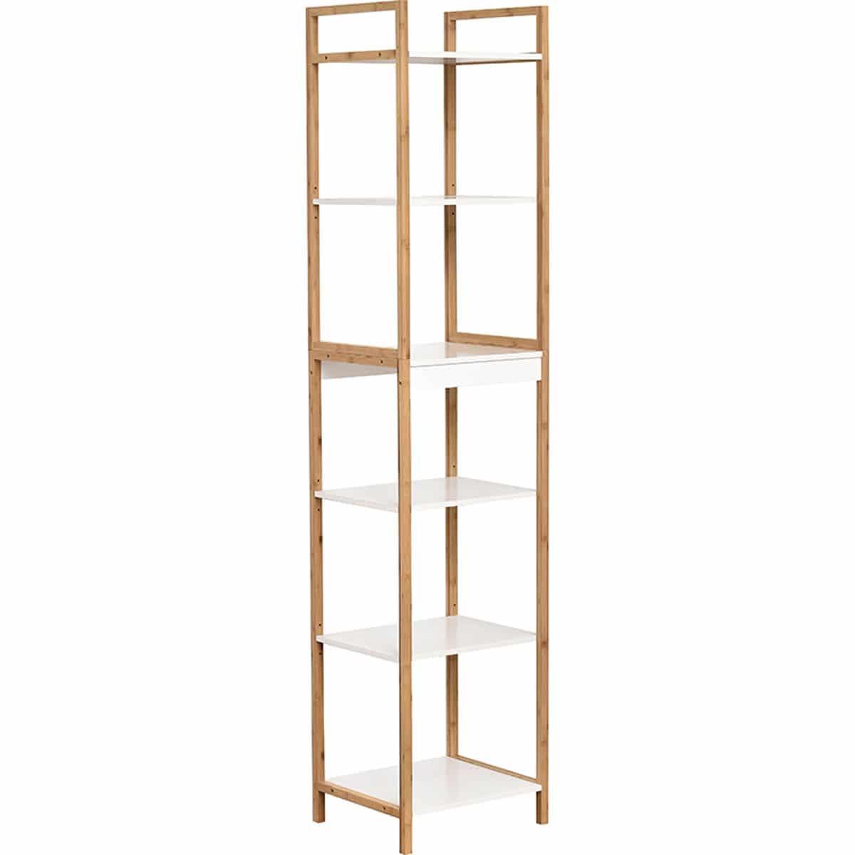 4goodz staand badkamerrek Nuovo 6 hoog 34x40x180 cm - Wit/Bruin