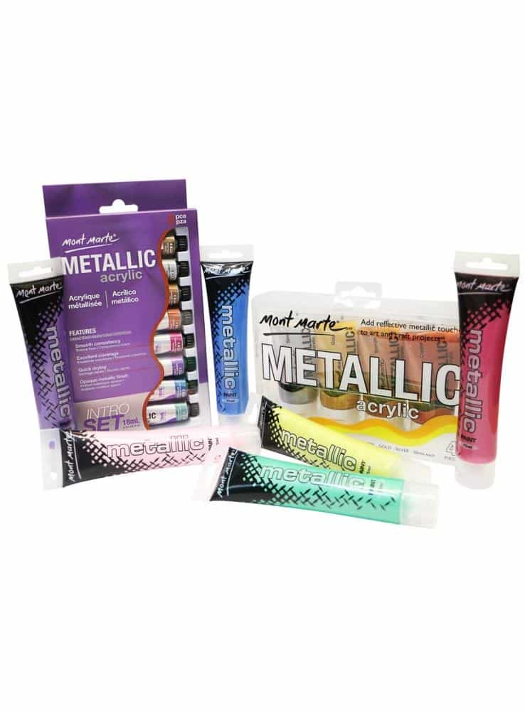 Mont Marte® 8-delige Metallic acrylverf introductie set 18ML