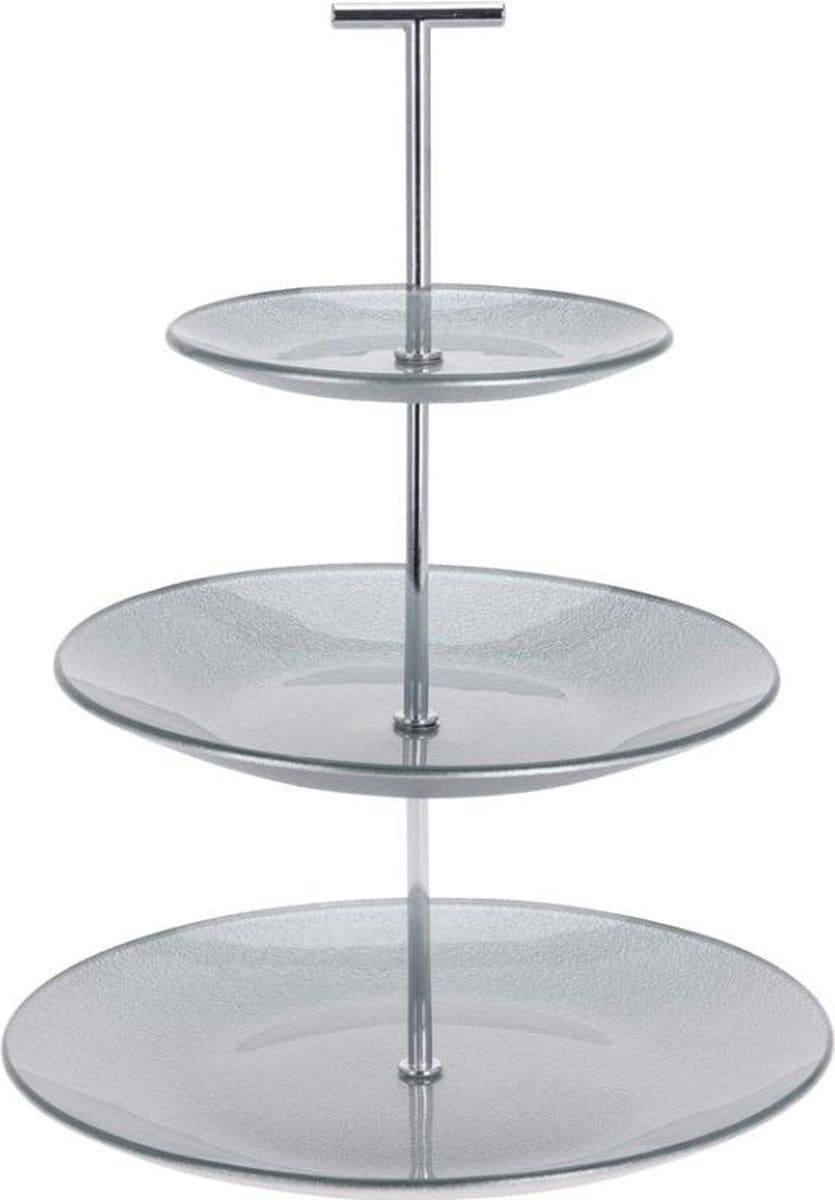 4goodz 3-laags Etagère van glas 25 cm doorsnede - Zilverkleurig