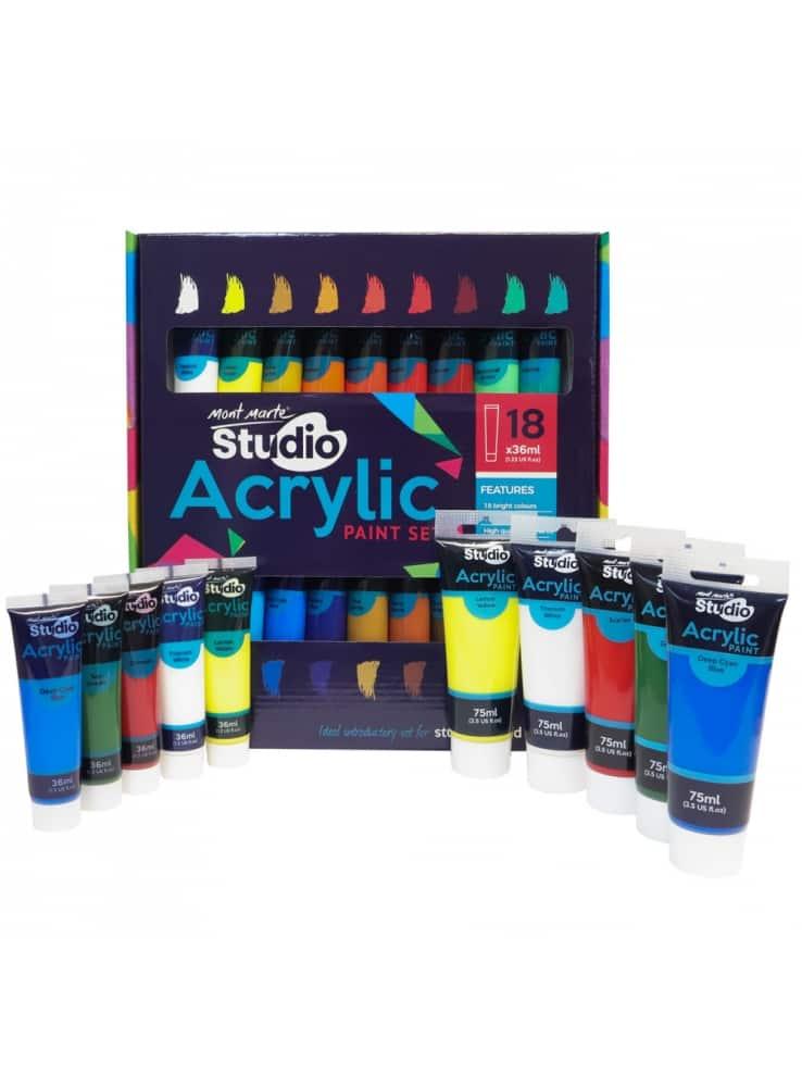 Mont Marte® acrylverf tubes 18 stuks a 36ml