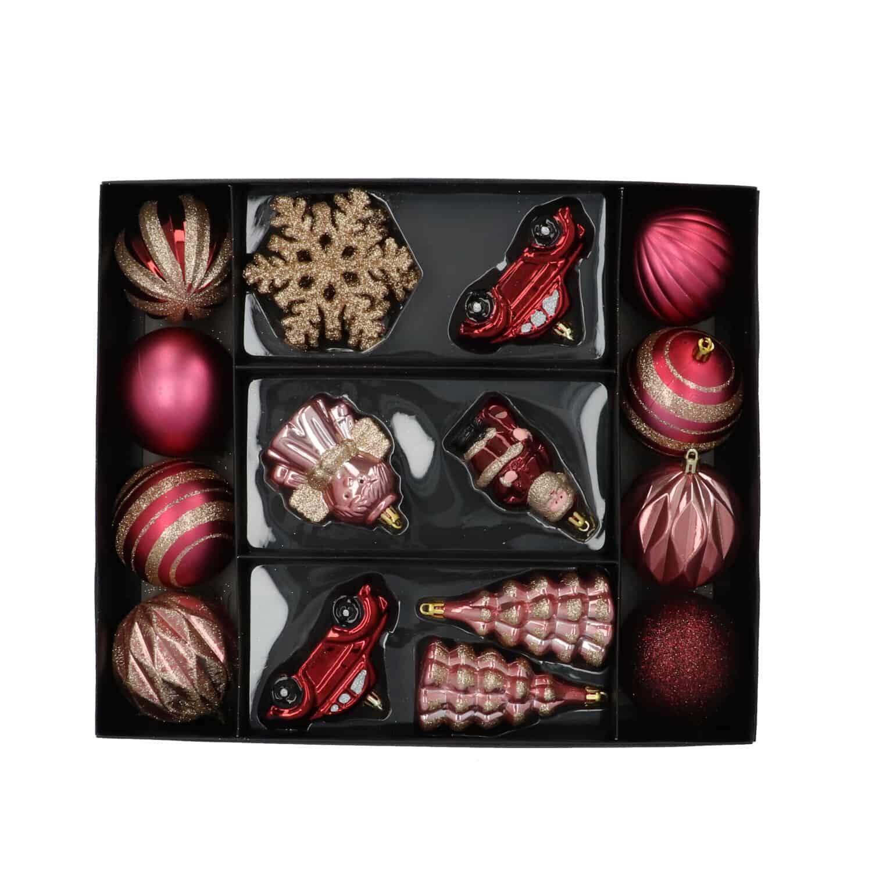 4goodz 20-delige decoratieve kerstballenset Champ/roze - binnen/buiten