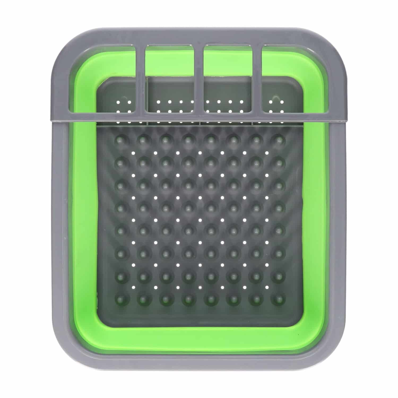 4goodz opvouwbaar afdruiprek voor afwas 31x36x13 cm - Groen met grijs