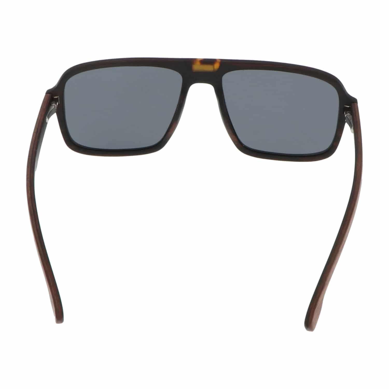 5one® Aviator Walnut Square - walnoot houten zonnebril - grijze lens