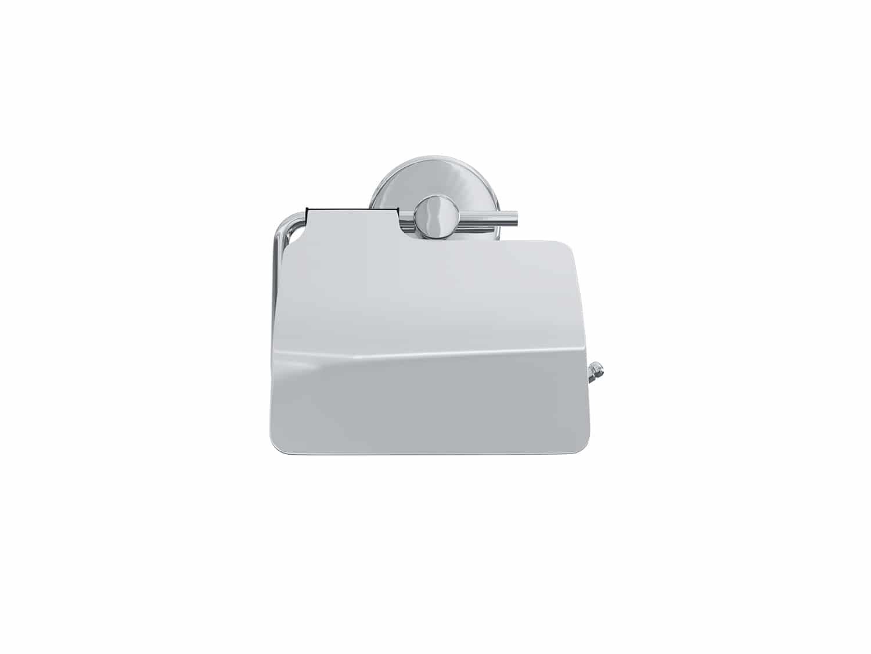 4bathroomz® Oslo toiletrolhouder met klep - WC rolhouder - Chroom
