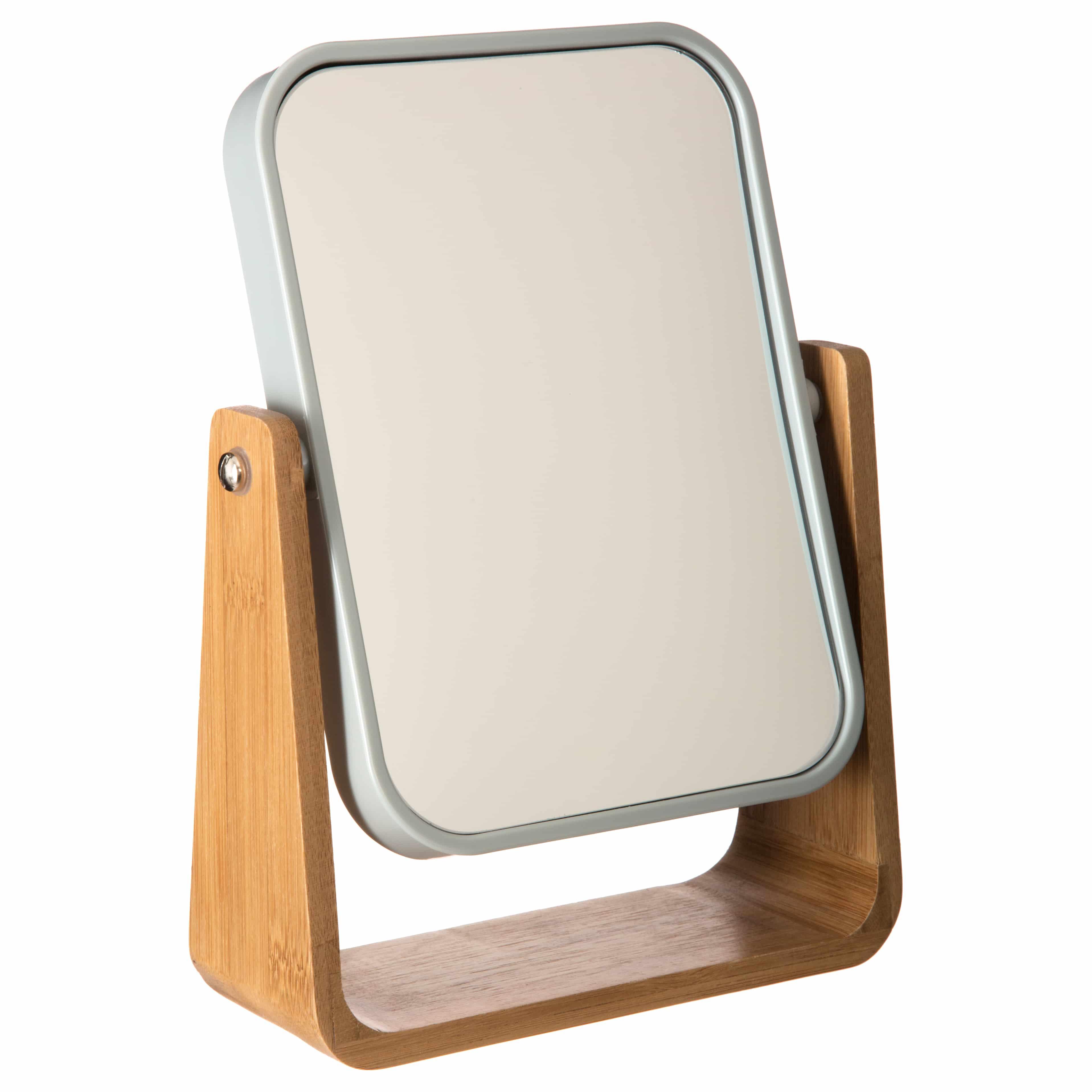 4goodz make-up spiegeltje bamboe 16x22x6 cm Vergroot 3x - wit/bruin