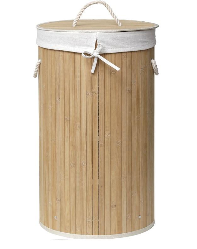 4goodz bamboe ronde wasmand met deksel en handvaten - 50 L - 30x60 cm