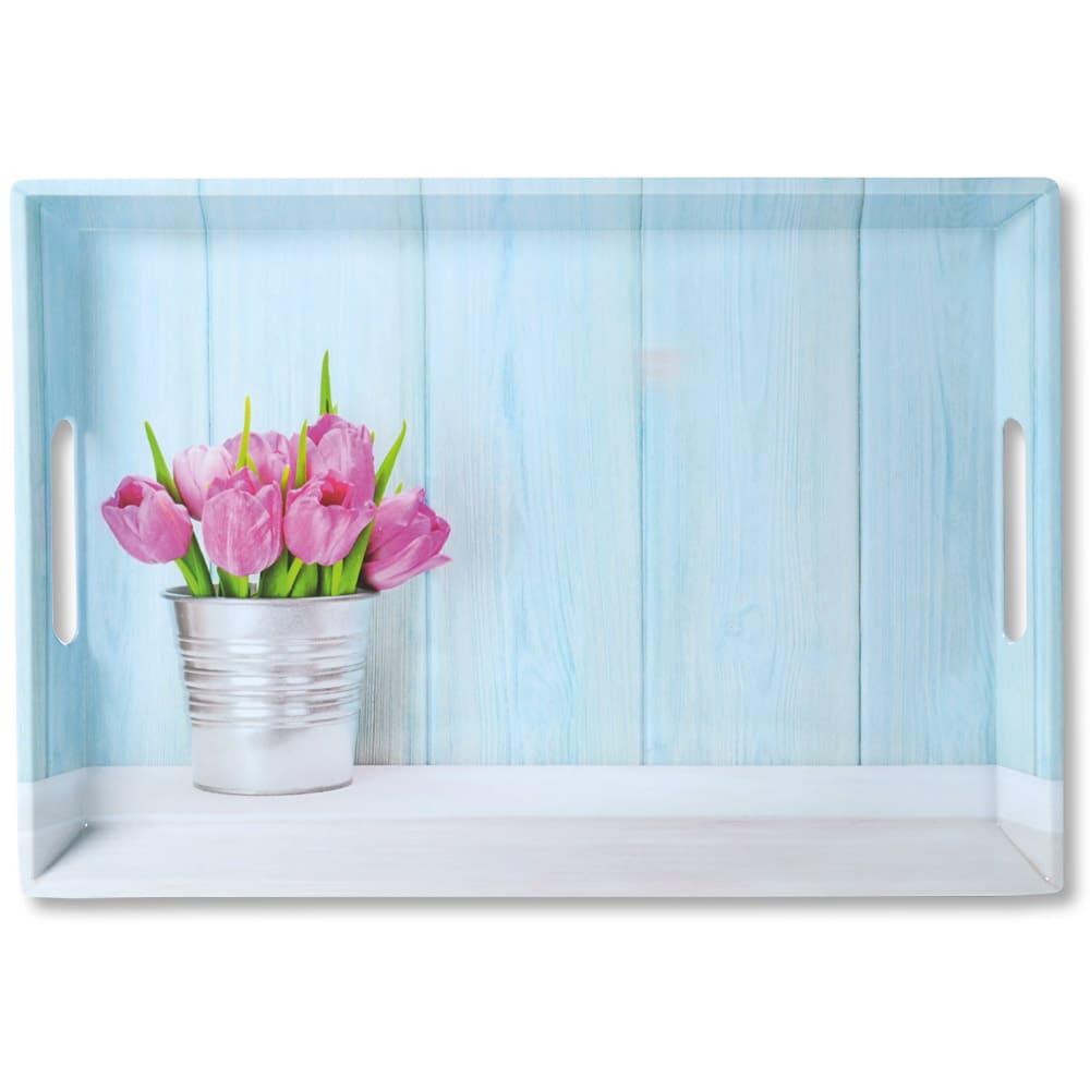 4goodz Dienblad Rechthoek Tulpen 50x35x4,5 cm - Blauw