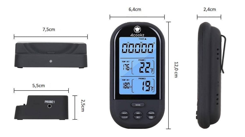 4cookz® 2 sensoren draadloze BBQ thermometer 0-250 graden