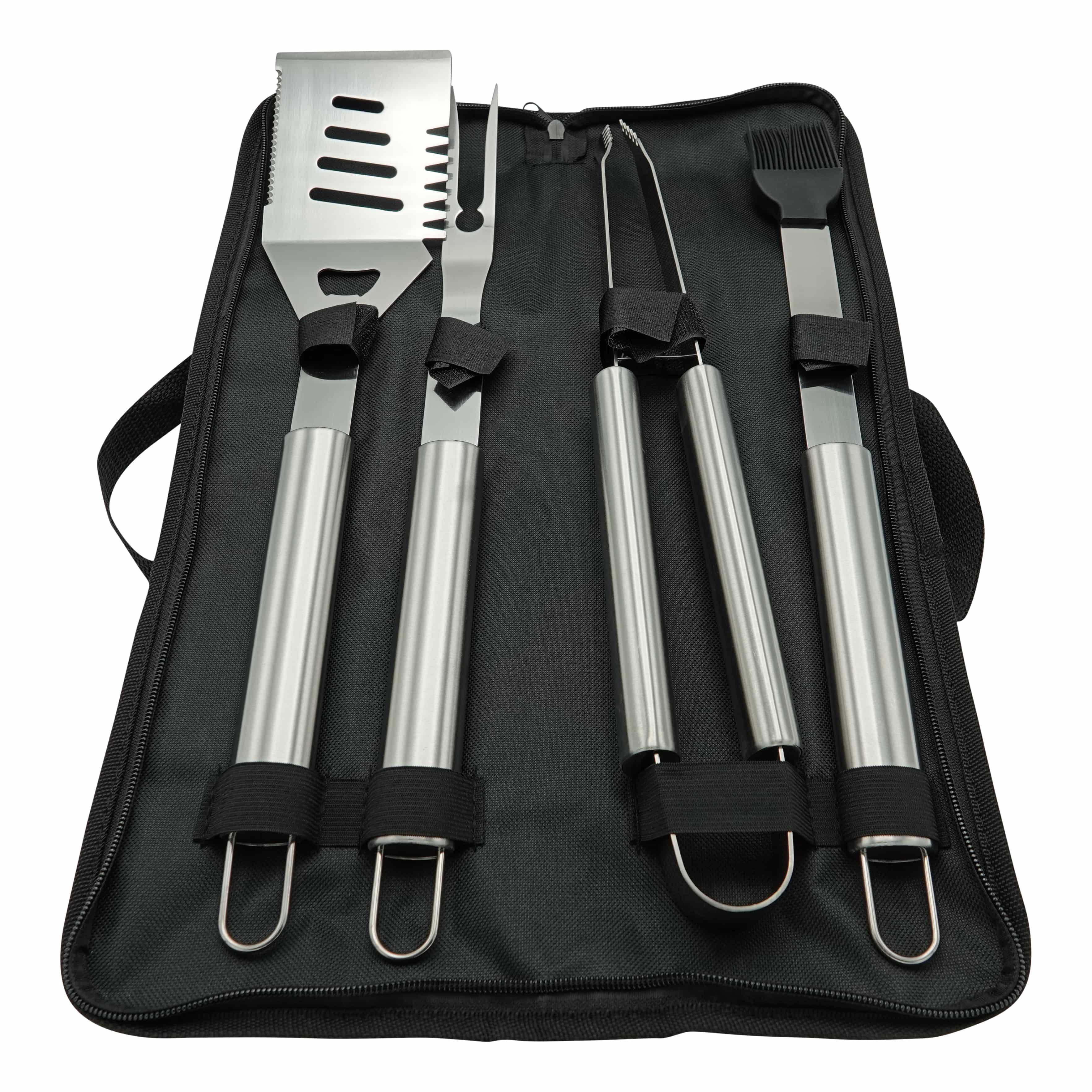 4cookz® RVS BBQ gereedschapsset 5 delig met Canvas bewaartas