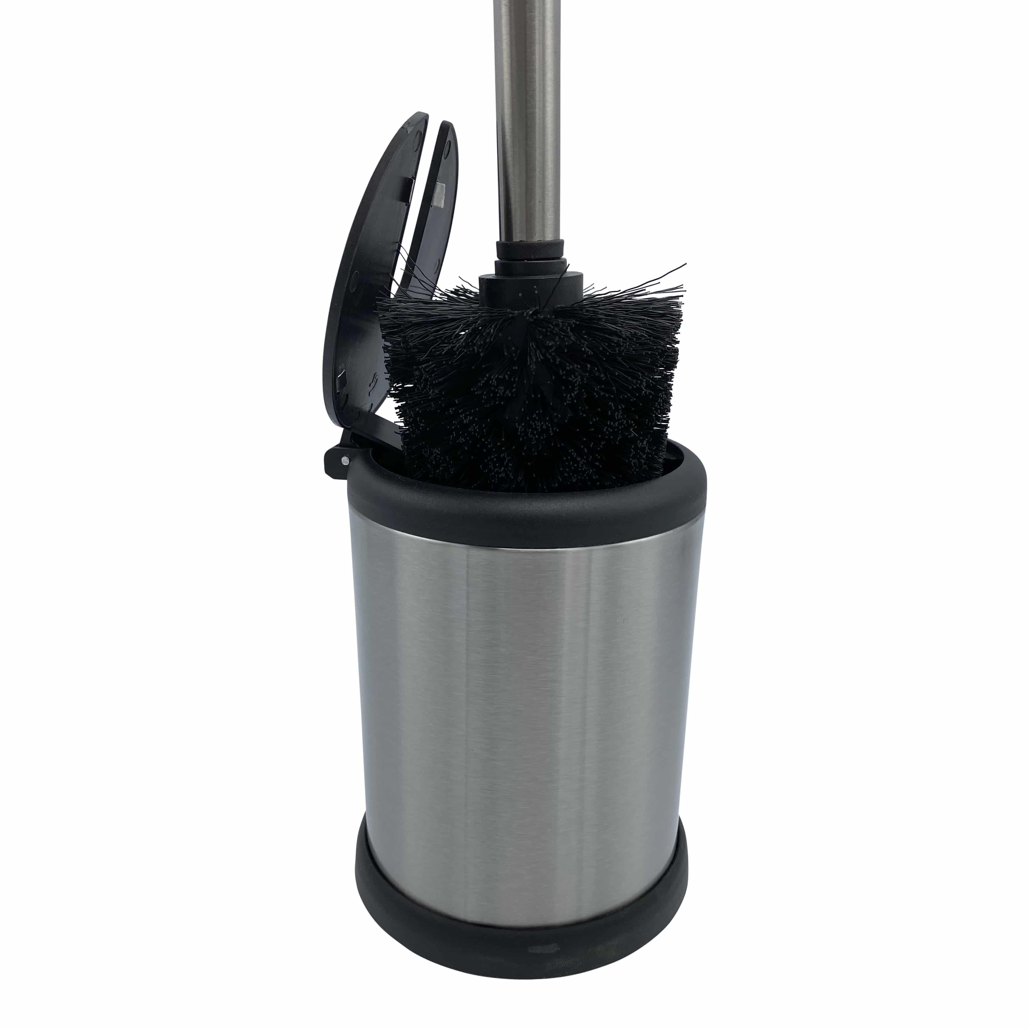 4goodz toiletborstel met klep - 11,5x39 cm - Chroom