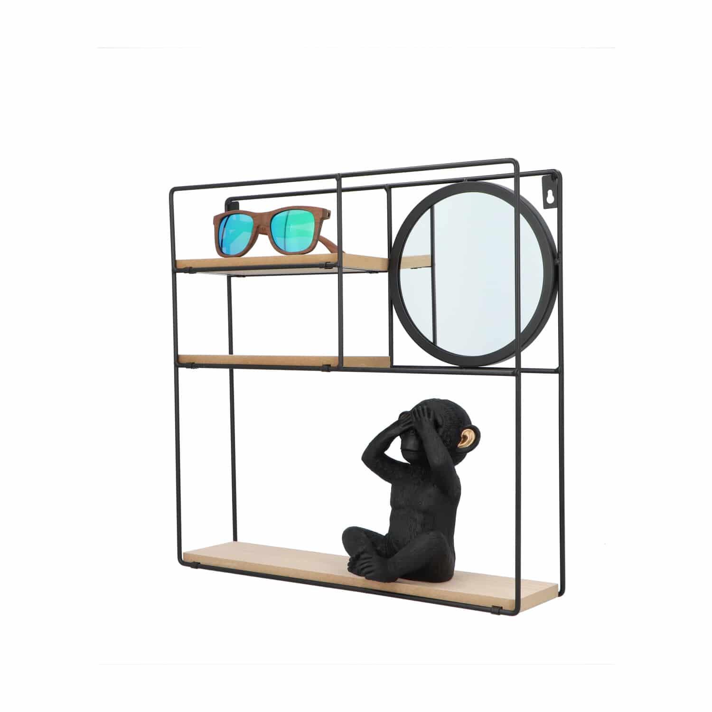 4goodz industrieel Wandrek metaal met spiegel - 10x40x40 cm - Zwart