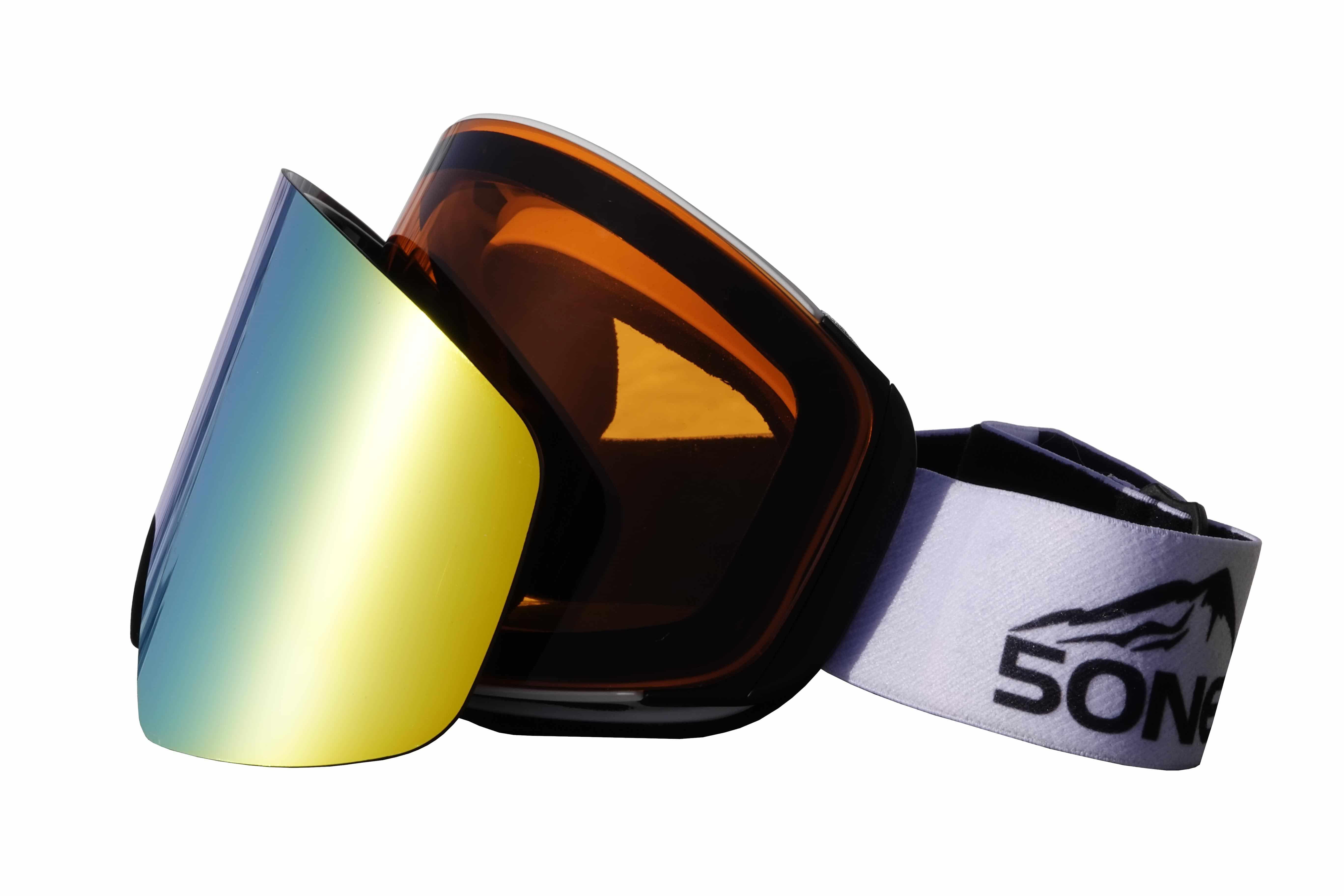 5one® Alpine 8 Gold/Orange - skibril 2 verwisselbare lenzen - anti-fog