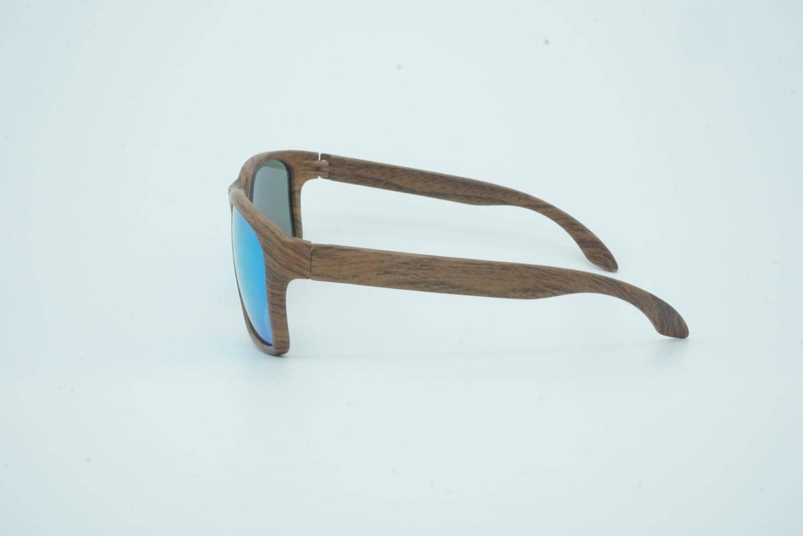 4Goodz Nice blue - houtlook zonnebril - blauw spiegelglas - Uv400