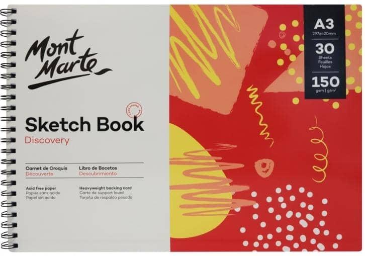 Mont Marte® schetsboek 150 grams A3 - 30 vellen - harde kaft