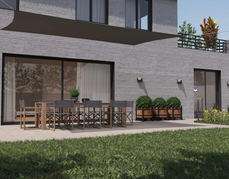 hanSe® Schaduwdoek Rechthoek Waterdoorlatend 2x5 m - zonnedoek - Grijs