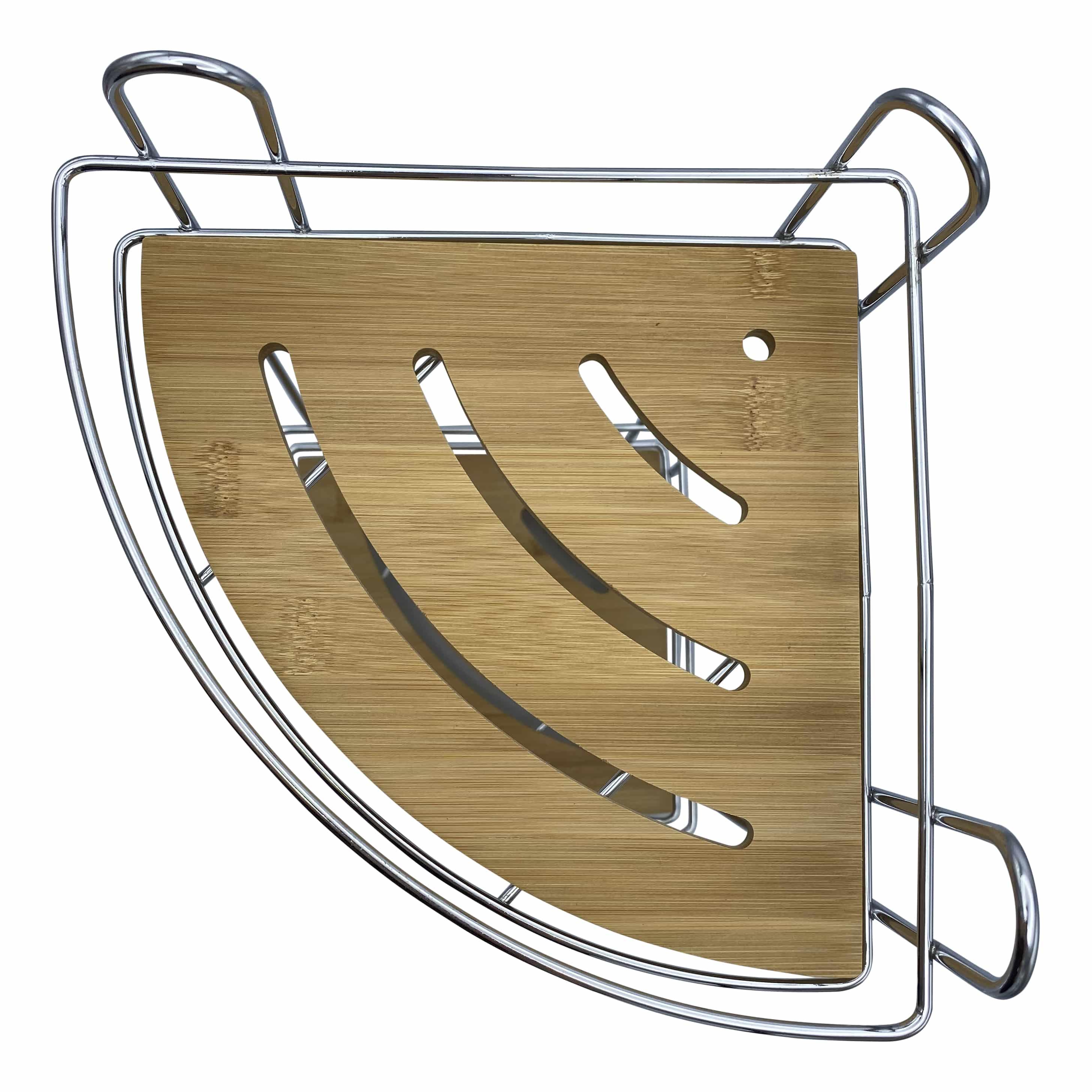 4goodz 3-laags hangend hoekdoucherekje metaal/bamboe - 27x27x56cm