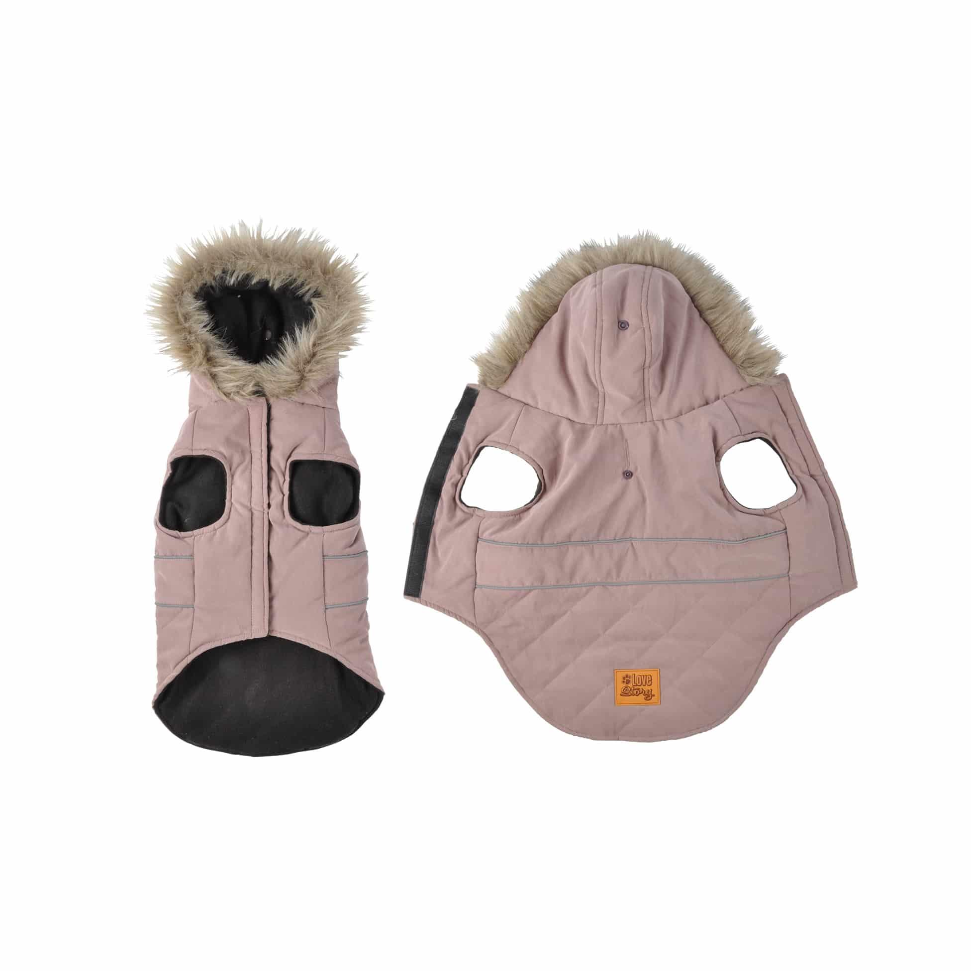 4goodz Hondenjas met bontkraag - winterjas hond 30 cm - Roze