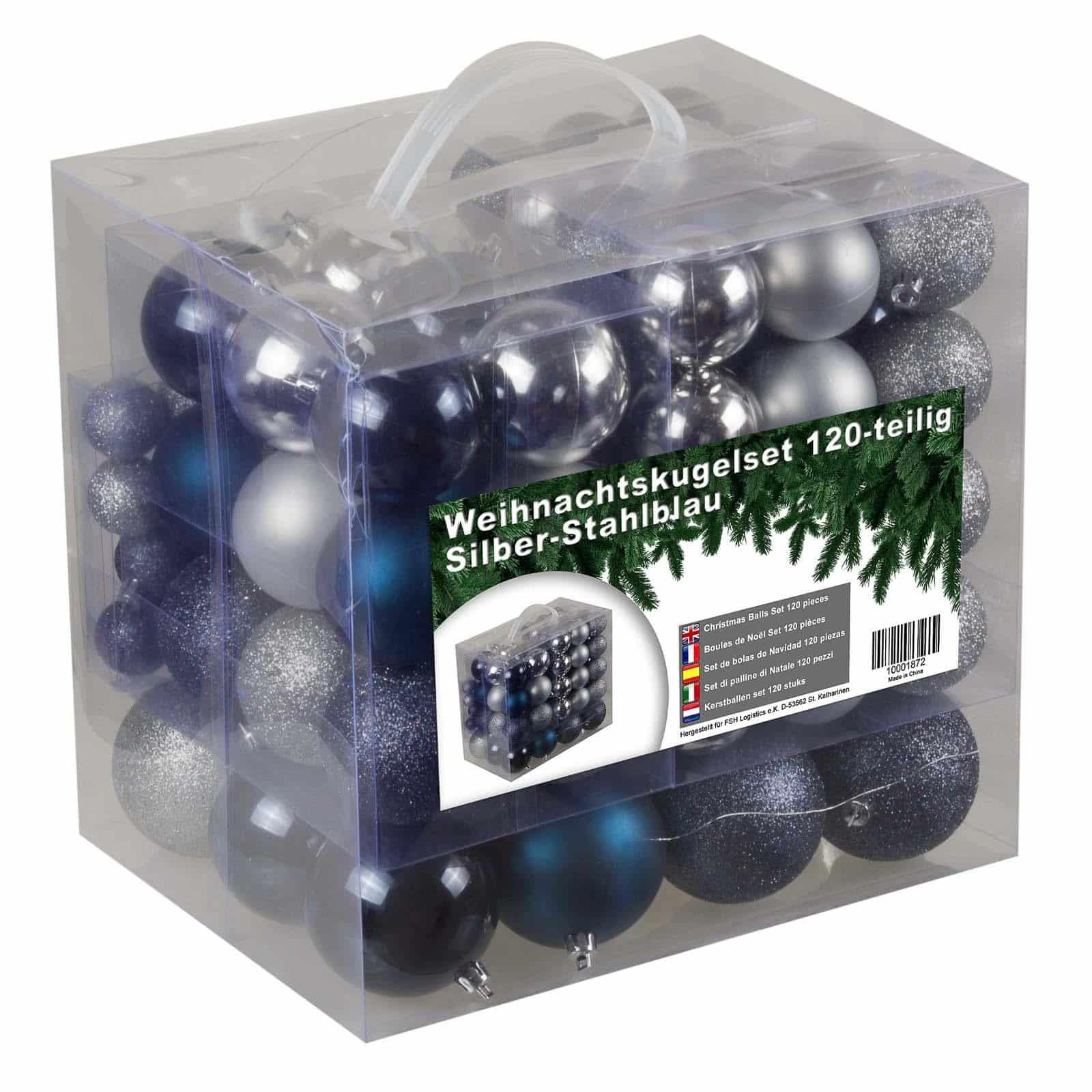 Kunststof Kerstballen set 120 ballen - binnen buiten - Zilver/Staalblauw