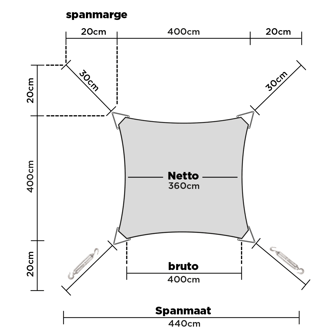 hanSe® Schaduwdoek Driehoek Waterdicht 4x4x4 m - zonnedoek - Creme