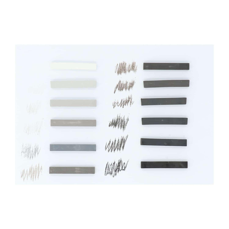 Mont Marte® Pastelkrijt - zacht pastel grijstinten 12 stuks