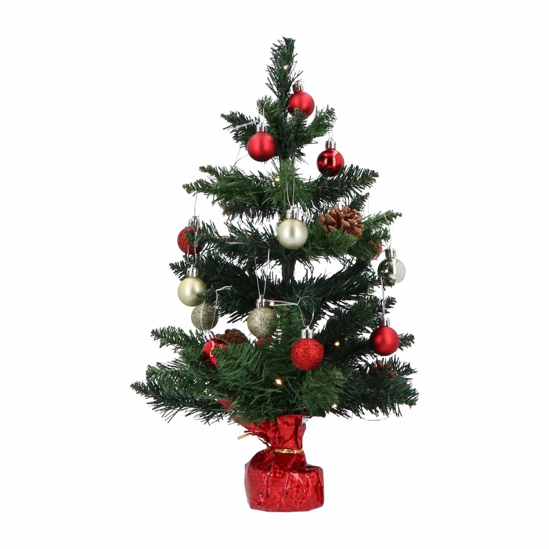 4goodz kunstkerstboom met licht en versiering 50cm hoog - Rood/Zilver