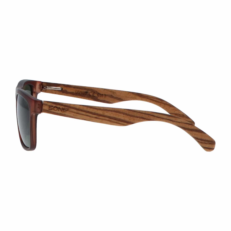5one® Bali 2-tone Brown – sportieve zebrahout zonnebril - grijs