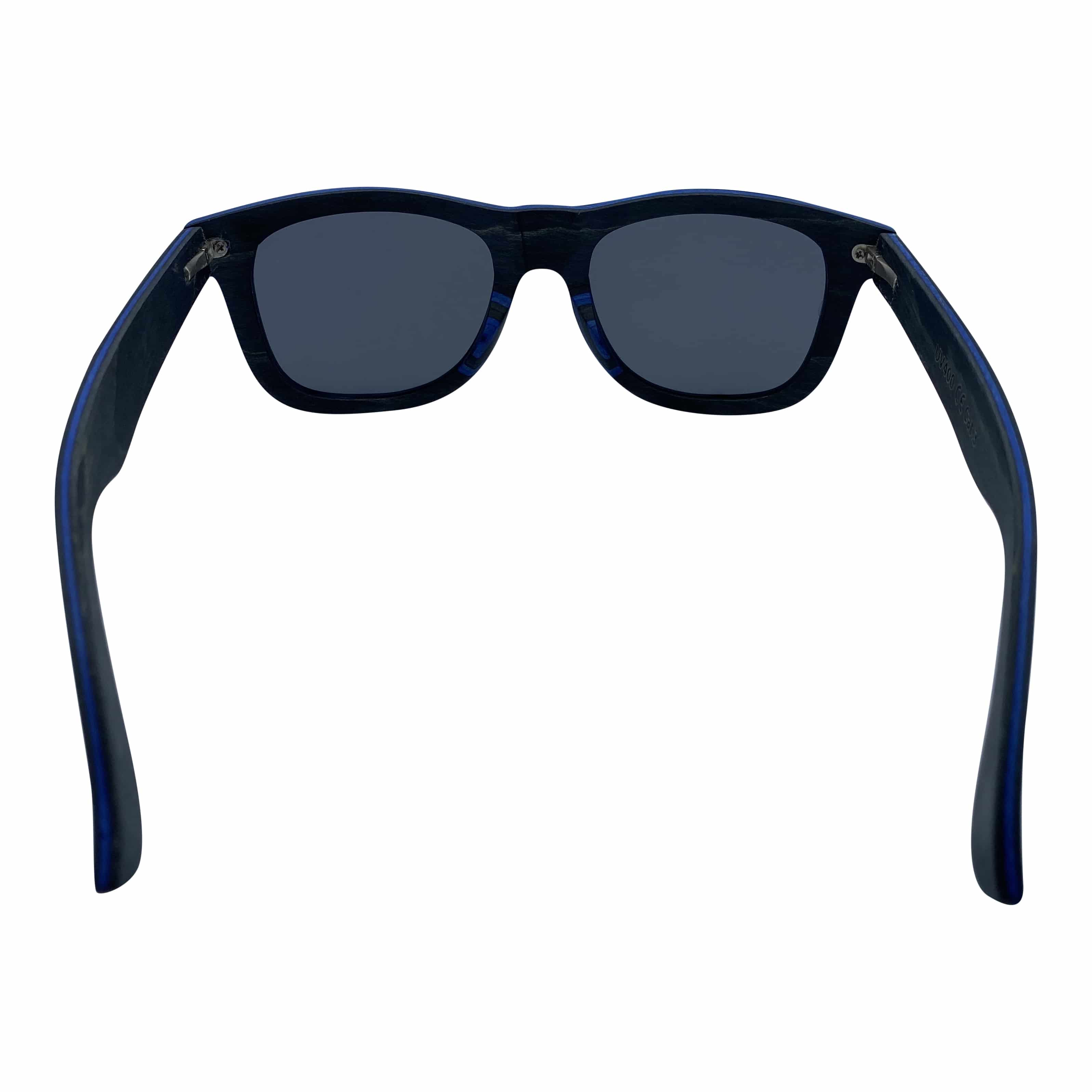5one® wayfarer 2.0 Black/Blue - houten Zonnebril - Grijze lens
