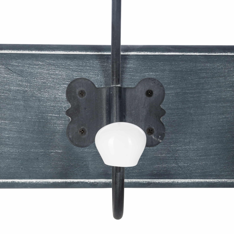 4goodz Klassieke Kapstok met 5 metalen haken 60x20x8cm - Grijs