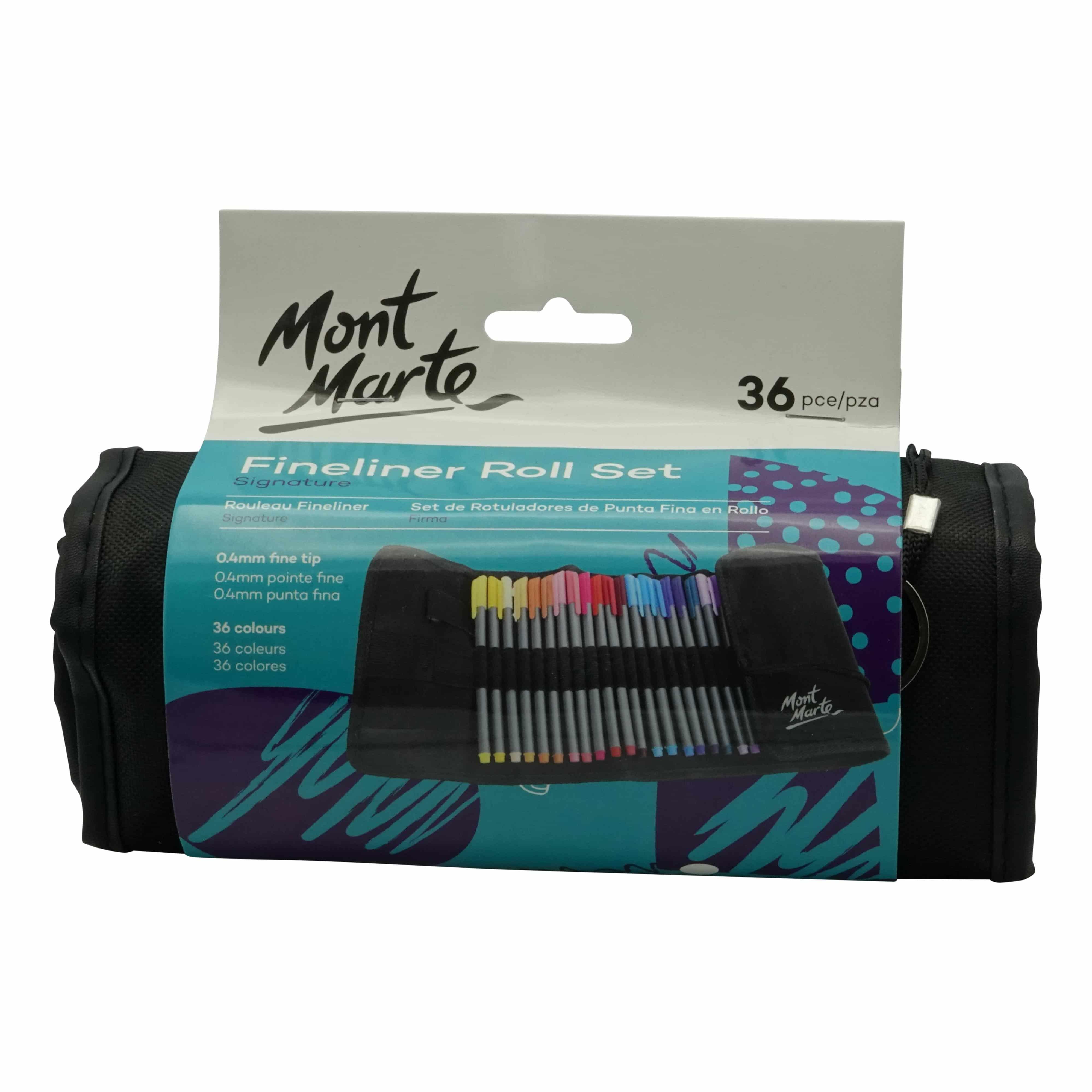 Mont Marte® 36 fineliners kleur in rol etui - 0,4mm punt dikte
