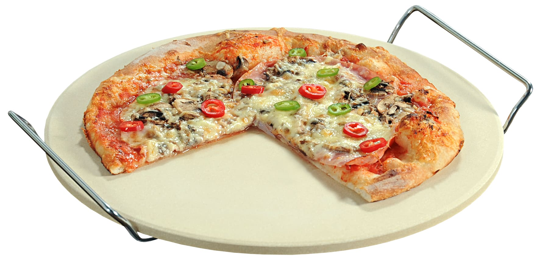 Pizzasteen Keramisch - Universeel met Handvaten 33 cm doorsnede