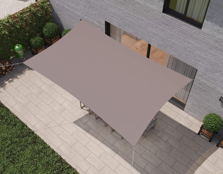 hanSe® Schaduwdoek Rechthoek Waterdoorlatend 2x3,5 m - zonnedoek Taupe