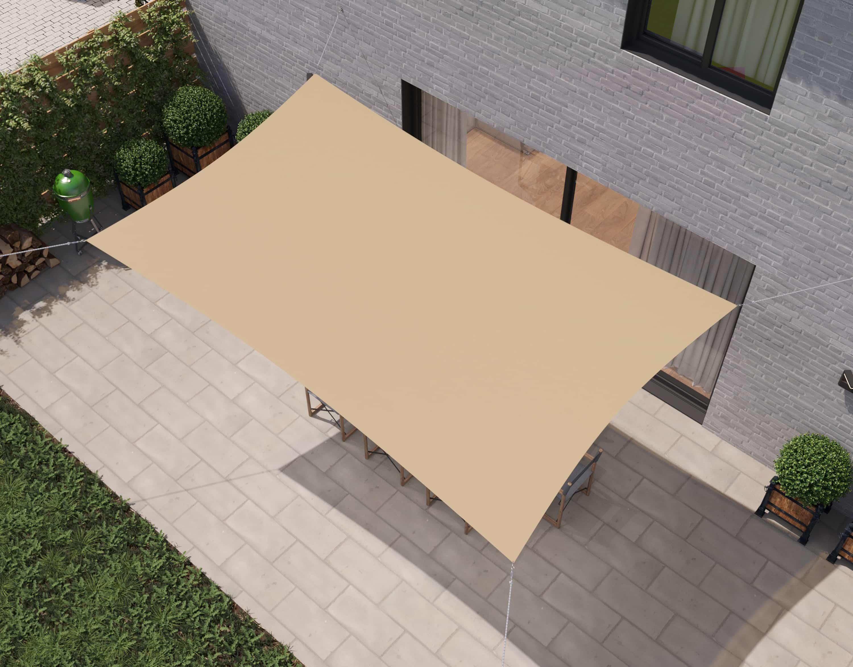 hanSe® Schaduwdoek Rechthoek Waterdicht 4x5 m - zonnedoek - Zand