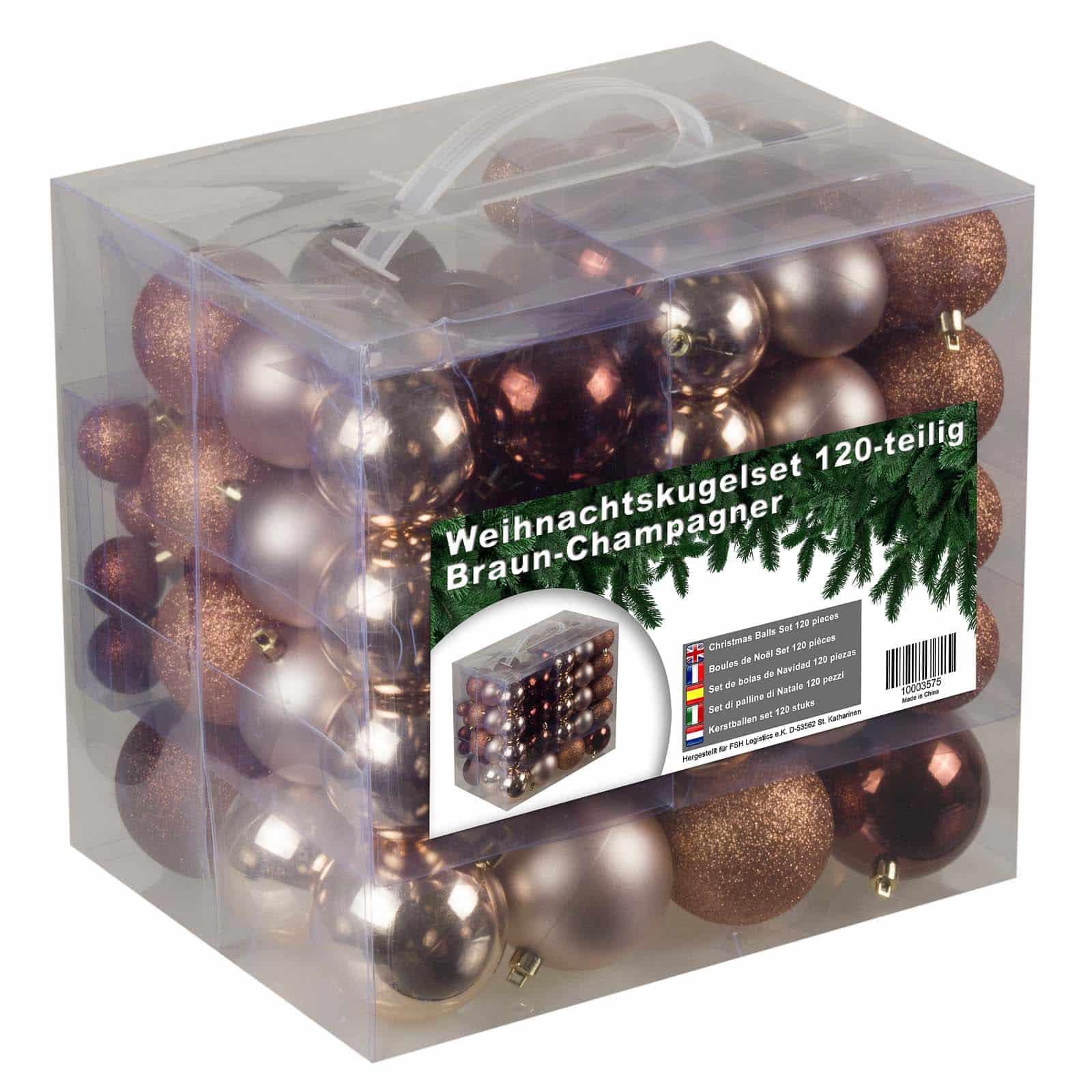 Kunststof Kerstballen set 120 ballen - binnen/buiten - Champagne/Bruin