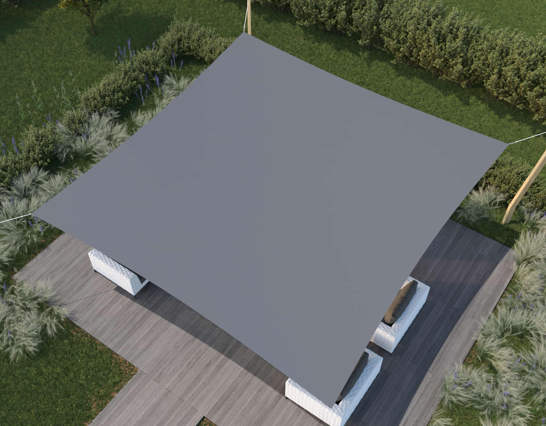 hanSe® Schaduwdoek Vierkant Waterdicht 5x5 m - zonnedoek - Grijs