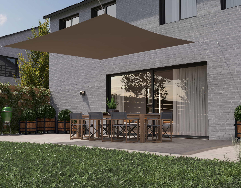 hanSe® Schaduwdoek Vierkant Waterdoorlatend 2x2 m - zonnedoek - Taupe