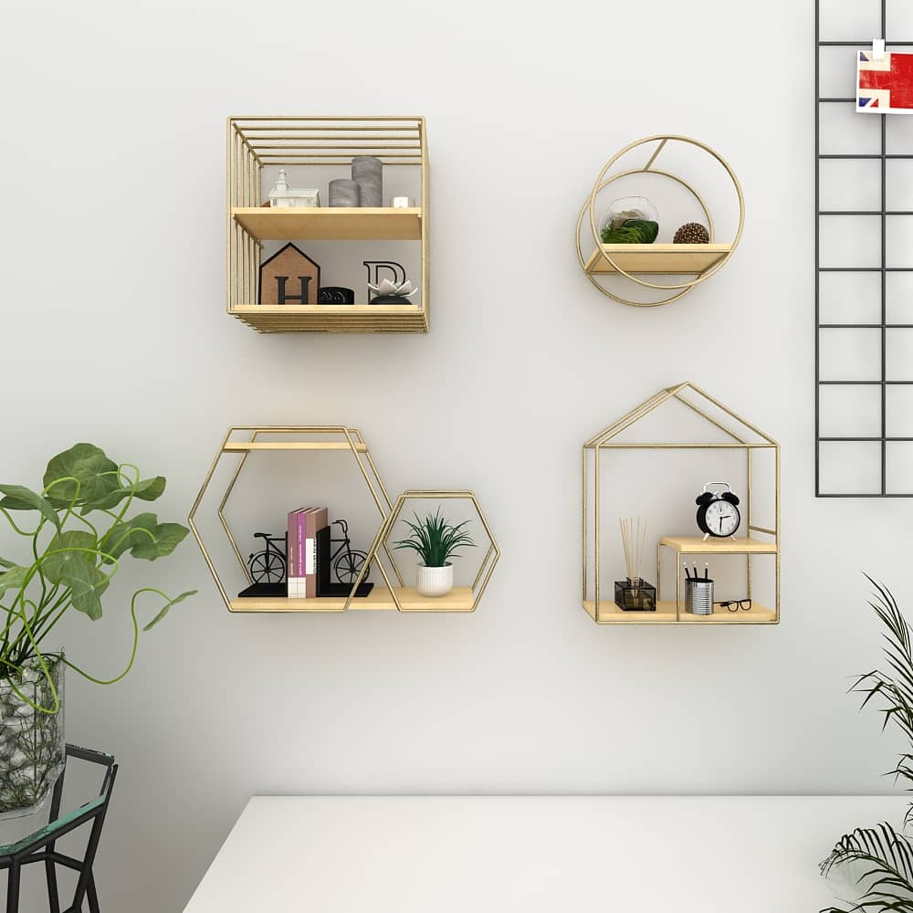 4livingz Shapes 4-delige wandrek set metaal/hout - 39x40x11 cm - Goud