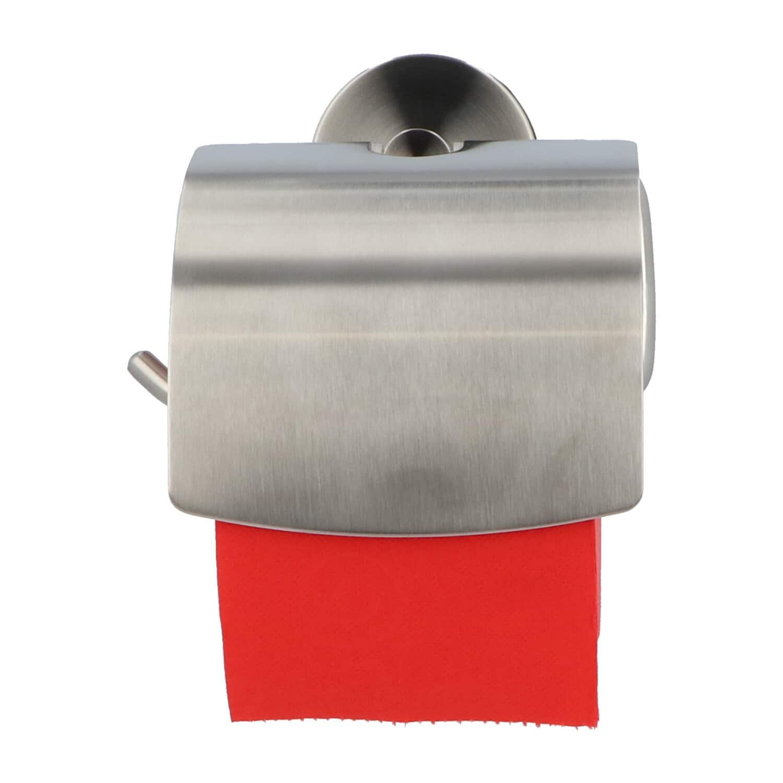 4bathroomz® Toiletrolhouder met Klep Zuignap Vacuum - mat RVS