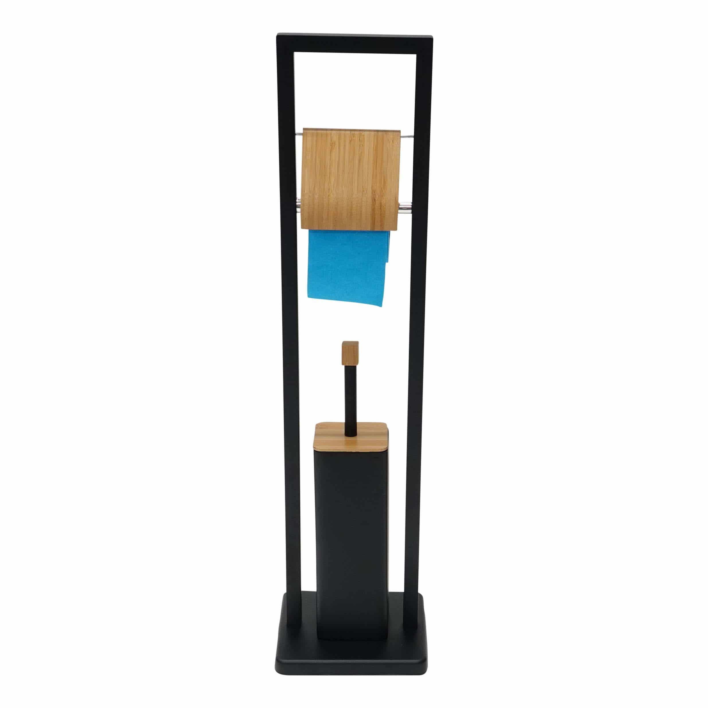 4goodz toiletgarnituur vrijstaand bamboe 20x20x60cm - Zwart