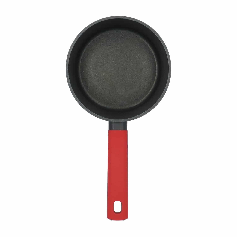4goodz Aluminium Sauspan met siliconen handvat 17 cm - zwart/rood
