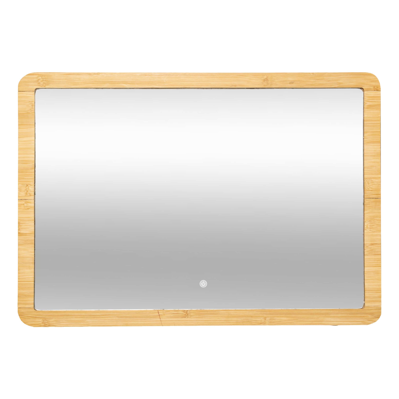 4goodz bamboe Spiegel Rechthoekig met LED verlichting 47x66 cm - Bruin