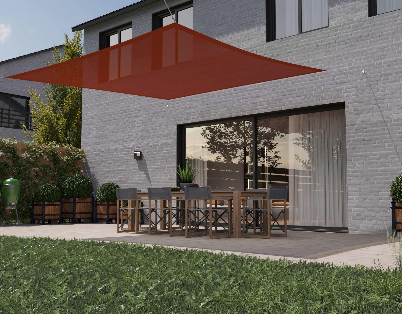 hanSe® Schaduwdoek Vierkant Waterdoorlatend 4,5x4,5 m - Terra